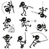 Satz von StickFiguren Ninjas