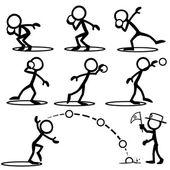 Fotografie Satz von Strichfiguren Kugelstoßen zu tun