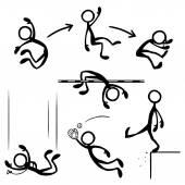 Fotografie Satz von Strichfiguren springen