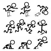Satz von Strichmännchen läuft bei Olympischen Spielen