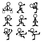 Satz von Stick-Figuren tun Taekwondo