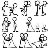 Satz von Stickfiguren, Hochzeitszeremonie