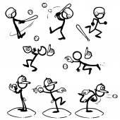 Fotografie Satz von Strichmännchen spielen baseball