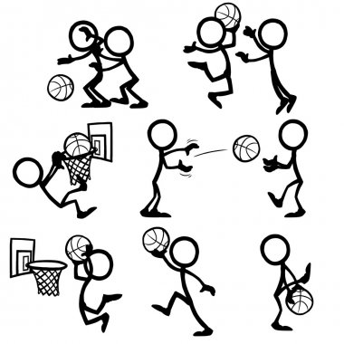 Set of stick figures playing basketball