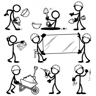 Set of stick figures builders