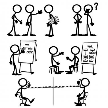 Set of stick figures, business strategy