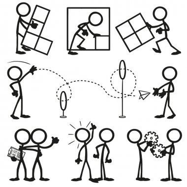 Set of stick figures, business work