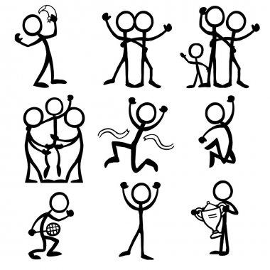 Set of stick figures celebrating
