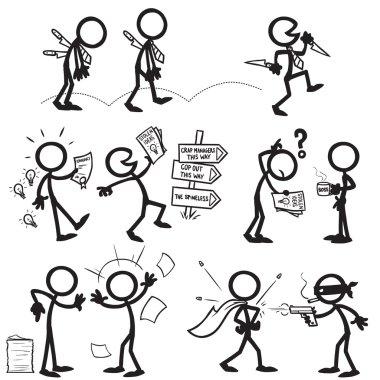 Set of stick figures confrontation