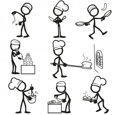 Set of stick figures Cooking