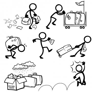Set of stick figures, personal baggage