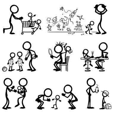 Set of stick figures, family life