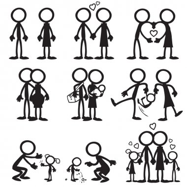 Set of stick figures, family love
