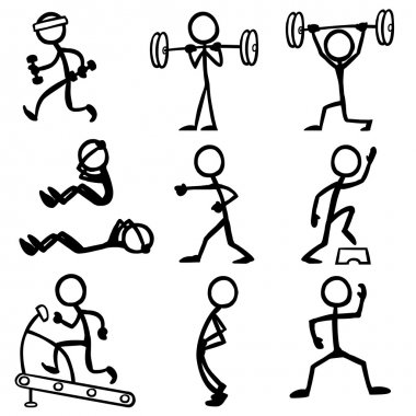 Set of stick figures doing fitness