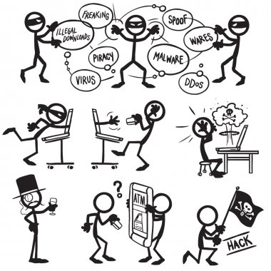 Set of stick figures hacking