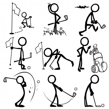 Set of stick figures playing golf