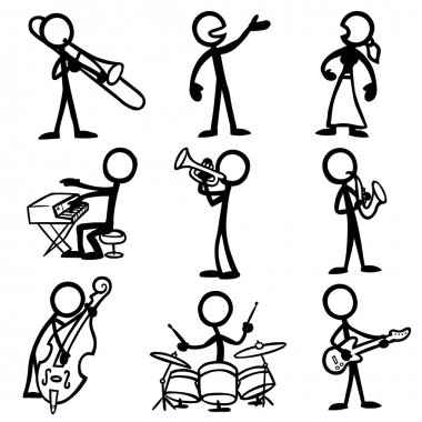 Set of stick figures playing jazz