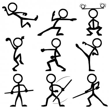 Set of stick figures doing kung fu