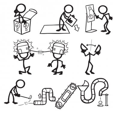 Set of stick figures, lateral thinking
