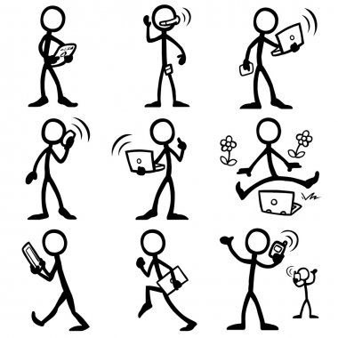 Set of stick figures, mobile communication