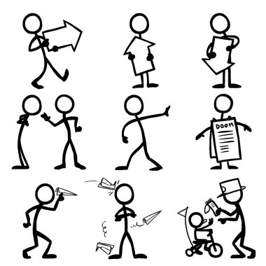 Set of stick figures, messages