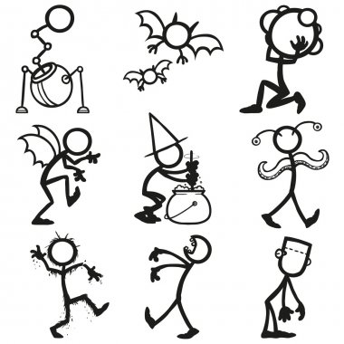 Set of stick figures monsters