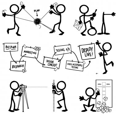 Set of stick figures planning