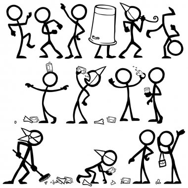 Set of stick figures partying