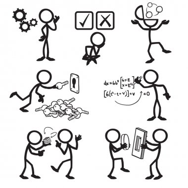 Set of stick figures solving problem