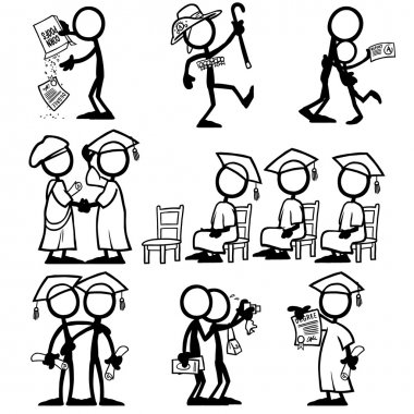 Set of stick figures qualifications