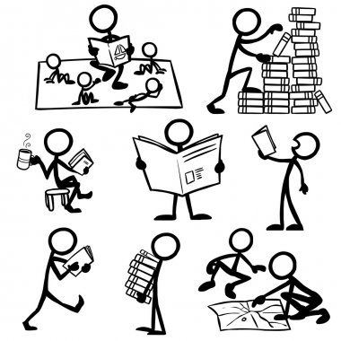 Set of stick figures reading