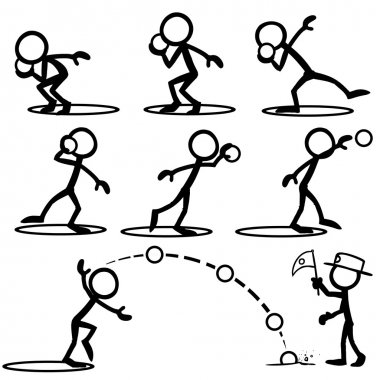 Set of stick figures doing shot put