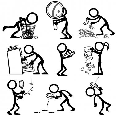 Set of stick figures searching