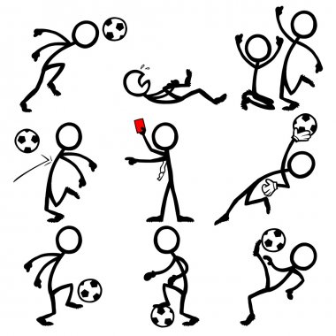 Set of stick figures playing soccer