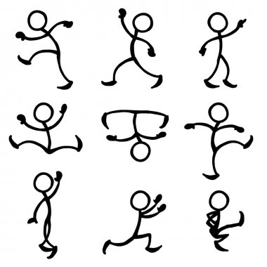 Set of stick figures dancing