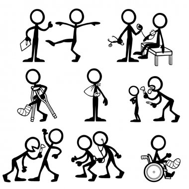 Set of stick figures on medical checkup