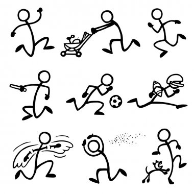 Set of stick figures running