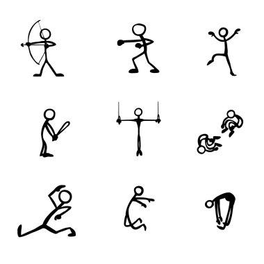 set of stick figures doing sports