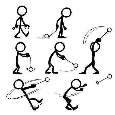 set of stick figures throwing hammer