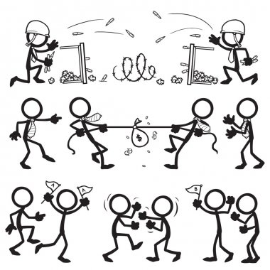 set of stick figures, office conflict