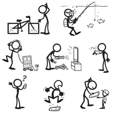 set of stick figures. things usability
