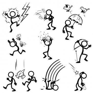 set of stick figures. things from sky.