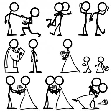 set of stick figures, wedding ceremony