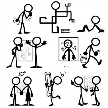 set of stick figures art critic