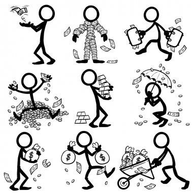 set of stick figures. money, wealth