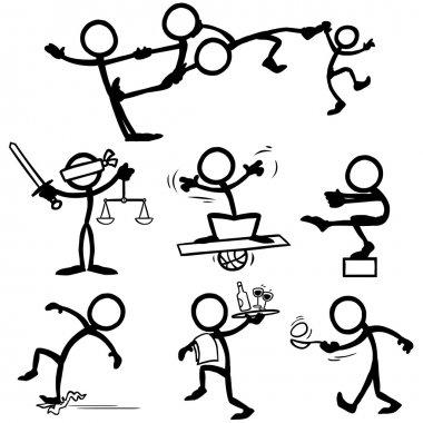 set of stick figures balance