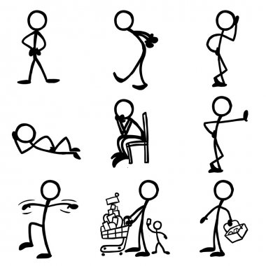 set of stick figures waiting