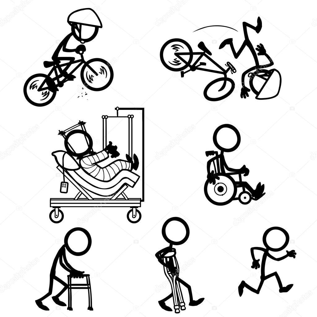 Set of stick figures, accident recovery — Stock Vector © tobybridson ...