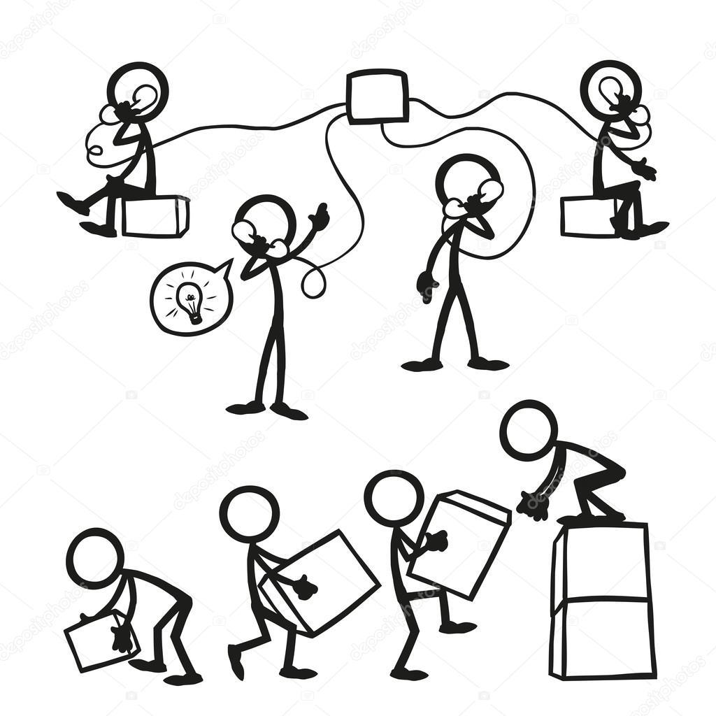 Figure Di Persone Stilizzate.Set Di Figure Stilizzate Di Affari Del Lavoro Vettoriali Stock
