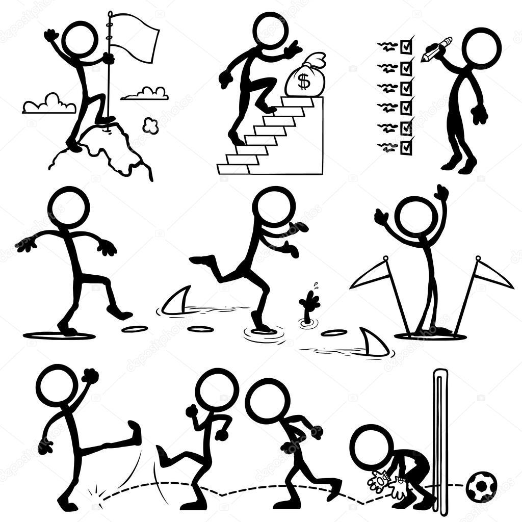 Set of stick figures, goal concept